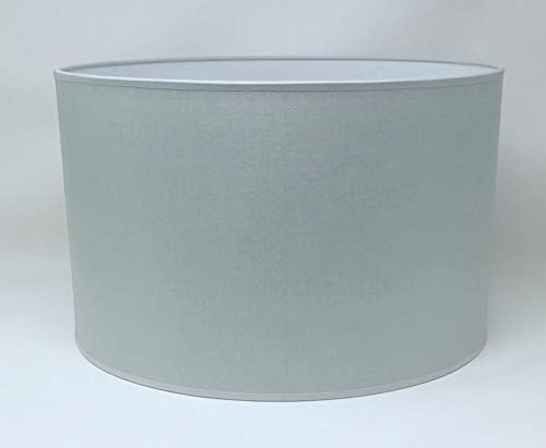 Zylinder Lampenschirm Baumwolle Stoff handgefertigt für Deckenleuchte, Tischleuchte, Stehlampe (Grau, 25 cm Durchmesser 20 cm Höhe)