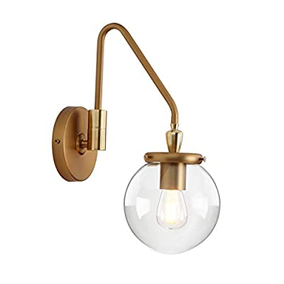 Pathson Industrial Glass Wall Sconce Lighting, Adjustable Swing Arm Wall Lamp for Bedside, Vintage Style Wall Light Fixtures for E26 or E27 Bulbs Brass Dark Finish