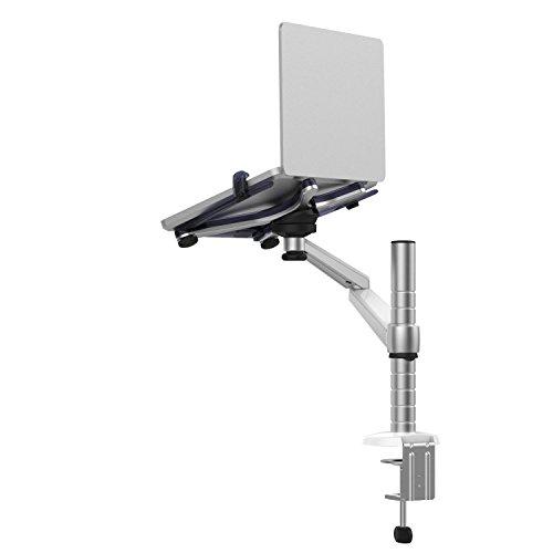 Verstellbarer Universal-Monitorständer aus Aluminium mit 2 neig- und schwenkbaren Armen für Laptop, Notebook und Computer, am Schreibtisch zu befestigen Single Laptop
