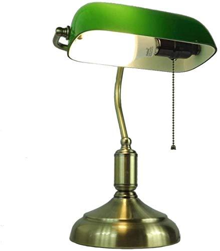 Lámpara de banquero tradicional, lámpara de escritorio de vidrio verde esmeralda de estilo antiguo, cuerpo de lámpara de metal, pantalla de vidrio, interruptor de cuerda