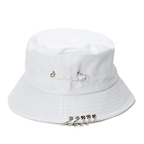 Sombrero Pescador Gorras Hombre Mujer Unisex Mujer Hombre Bucket Hat Pin Anillos Sunhat Caps Hats-White