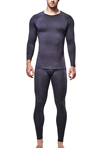 DEVOPS Men's Thermal Underwear Long Johns Set with Fleece Lined (Long Johns) Set (Medium, Charcoal, Non-Fly)