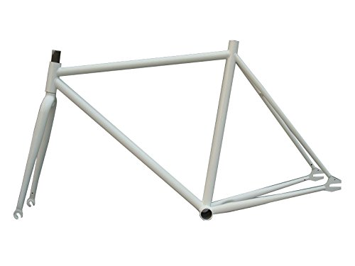 Fixed Gear bicicletta 15.554,6cm telaio in acciaio con forcella 1Speed Track Fixie Bike Frameset, White, 19