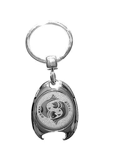Sterrenbeeld vis motief sleutelhanger, zilverkleurig, in elegante geschenkdoos met winkelwagenchip en flesopener | Cadeau | Mannen | Vrouwen | Sport | Chip | Boodschappenschip | Opener