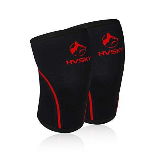 HVSKY Fitness Knee Sleeves for Weightlifting – 7mm Neoprene Compression for Cross Training, Powerlifting, & Squat Support – Competition Grade Lifting Brace (1 Pair) (Crimson Red - Upgraded, XX-Large)