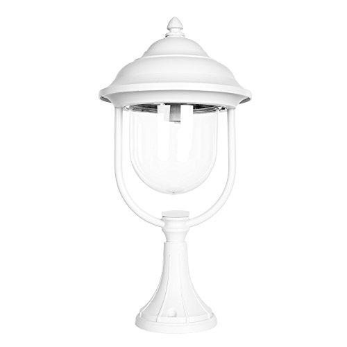 Sockelleuchte Aluminium matt weiß & Acrylglas 49 cm | IP44 für + robust + winterfest + dimmbar + 1-flammig | Außenlaterne Terrasse & Garten | Gartenleuchte | Außenlampe | Gartenlampe | Standleuchte