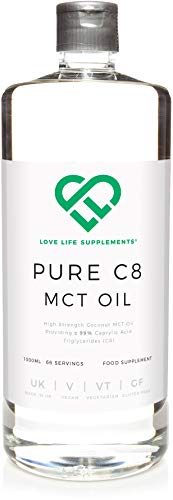 Pure C8 MCT Oil by LLS 1000ml Bottle 66 Servings 998 C8 Pure Coconut Caprylic Acid Converts More Rapidly into Ketones BPA Free Bottle Manufactured Here in The UK Under BRC Certification