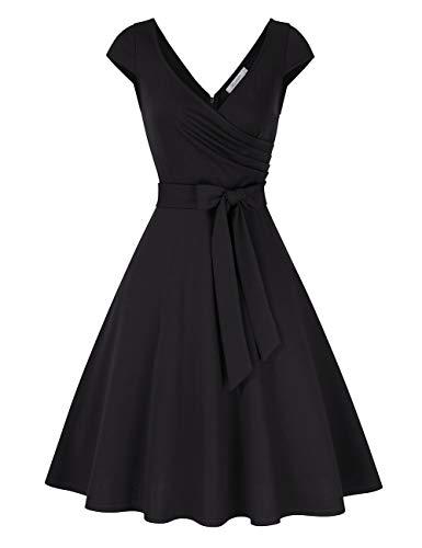 KOJOOIN Damen Vintage 50er V-Ausschnitt Abendkleid Rockabilly Retro Kleider Hepburn Stil Cocktailkleid Schwarz XL