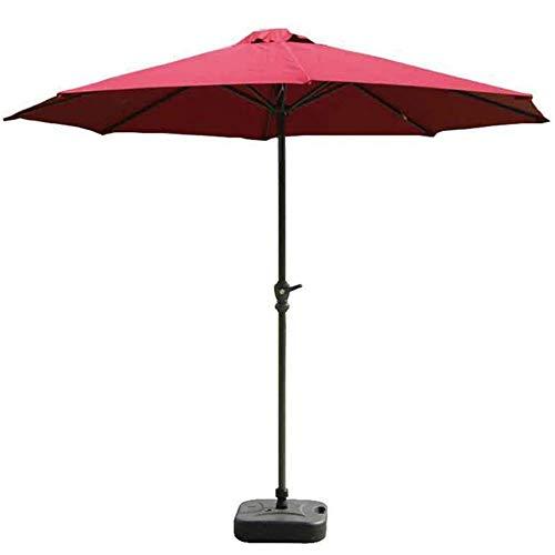 DX 9 uteplats paraply med rött polyesterskydd och skåp, utomhusbord paraplyer för trädgård, däck, trädgård och pool (färg: Röd, storlek: 9ft/270 cm)