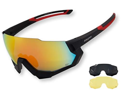 41degrees. Polarisierte Sportbrille mit 3 UV400 Wechselobjektiven. Sonnenbrille zum Laufen, Radfahren oder Skifahren mit Nachtbrille. Moraira Unisex Model Maske.