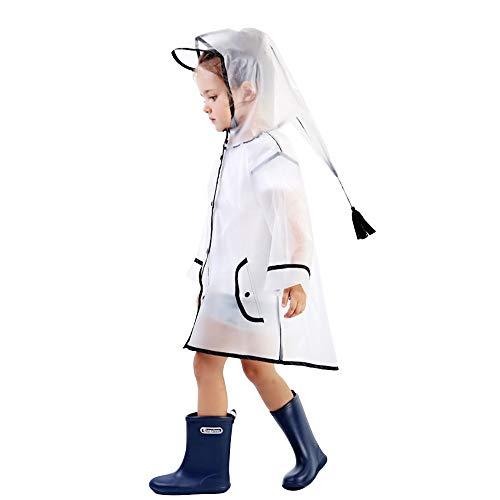 Lobeseb Giacca Impermeabile Impermeabile per Bambini Impermeabile Antipioggia Impermeabile Unisex Cute Storm Break Slicker per Bambina Bambina da 1 a 8 Anni(M)