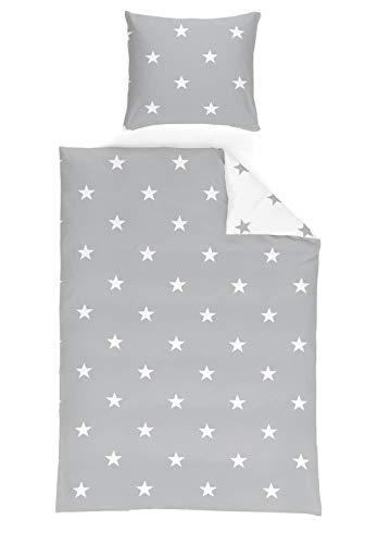 Schlafwohl MICROFASER Bettwäsche 135x200cm, 80x80cm Stars Design, Farben:Sterne Grau