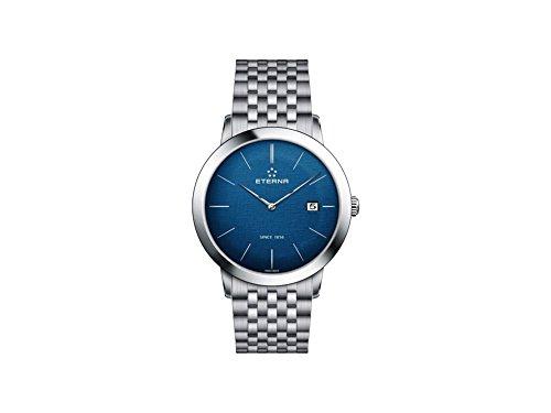 Eterna Eternity Gent Quartz Uhr, ETA 955.112, 40mm, Blau, Stahlband