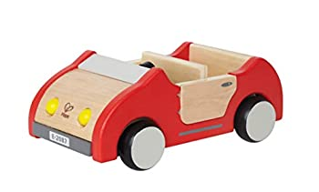 Hape Dollhouse Family Car | Wooden Dolls House Car Toy Push Vehicle Accessory for Complete Doll House Furniture Set Red L  8.9 W  3.5 H  5.1 inch