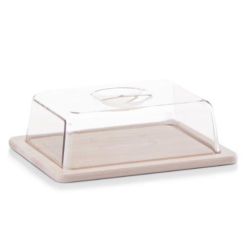 Ideale per servire e conservare formaggi, salumi e altri alimenti. Tagliere in legno di faggio laccato. Campana in plastica. Dimensioni: 25 x 20 x 8 cm (L x L x A). Igienico e inodore.