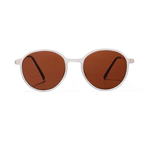 NJJX Gafas De Sol Unisex Redondas Para Mujer, Clásicas, Clásicas, De Leopardo, Transparentes, Circulares, Gafas De Sol Simples, Blanco