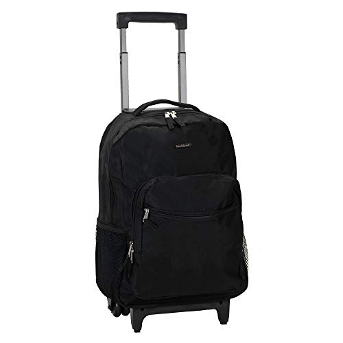 Rockland Double Handle Rolling Backpack, Black, 17-Inch