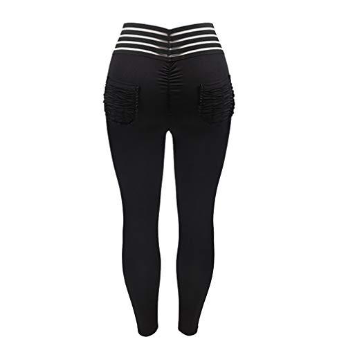 hibote Damen High Waist Leggings Streifen Patchwork Jogginghose - Frauen Leggins Yoga Hose Mit Taschen Push Up Fitnesshose Sporthose Gymnastic Hosen Tights Atmungsaktiv Schweißabsorbierend
