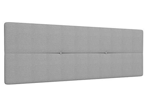 LA WEB DEL COLCHON Cabecero de Cama tapizado Acolchado Camile 145 x 55 cms Apto para Camas de 120 y 135 Textil Poliester Gris Claro Incluye herrajes para Colgar con regulador de Altura