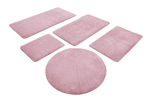 WECONhome Basics Badteppich, Badematte, kuscheliger Flauschiger weicher Flor, rutschfest und waschbar, Joris (55 x 65 cm, rosa)