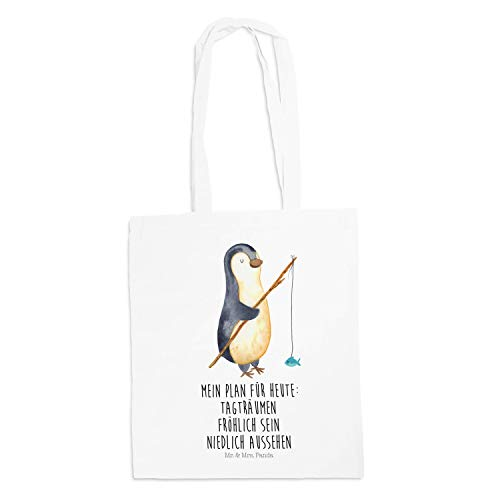 Mr. & Mrs. Panda Stofftasche, Tasche, Tragetasche Pinguin Angeler mit Spruch - Farbe Weiß