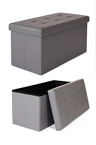 dibea SO00461 Sitzhocker faltbar, Lederimitat, 80 L, Bank 76 x 38 x 38 cm grau, Max 300 kg