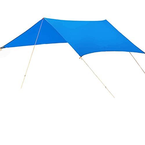 LOFAMI Toldo con Soporte Cuerda Peg A Prueba de Agua Tarpa Tienda de Tienda Sombra Hermosa Sombrilla Al Aire Libre Camping Sun Shelter Beach (Color : Blue)