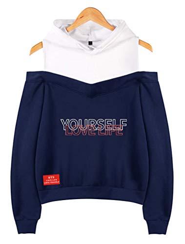 Leslady Damen BTS Kapuzenpullover Strapless Shoulder Love Yourself Life Answer Kpop Hoodie Sweater Sweatshirt Pullover Für Fans
