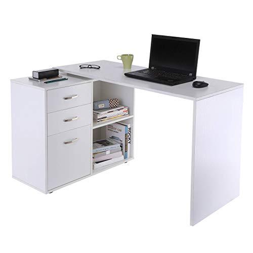 Yhjkvl Escritorio para ordenador, mesa de oficina en forma de L, color blanco