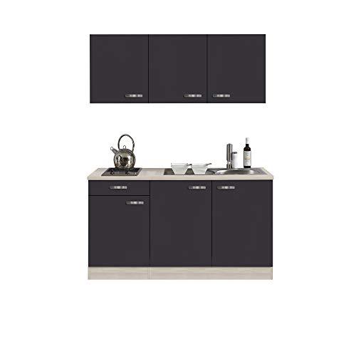 Singleküche BARCELONA - Miniküche mit Glaskeramik-Kochfeld und Spüle - Breite 150 cm - Grau/Akazie mit Echtholzstruktur