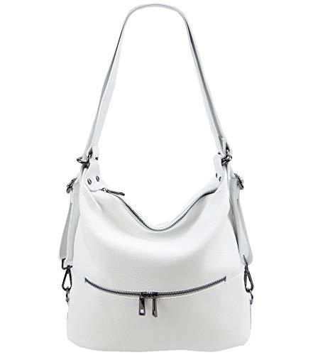 Freyday 2in1 Rucksackhandtasche Designer Damen Handtasche Henkeltasche 100% Echtleder (Weiß)