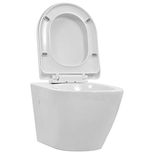 vidaXL Wand WC ohne Spülrand Absenkautomatik Spülrandlos Soft Close Sitz Hänge-WC Wand Hänge Toilette Keramik Badezimmer Badmöbel Weiß