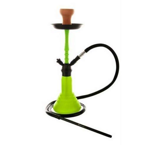 """Kaya Shisha Wasserpfeife Nargile """"Green Neon SPN 480L"""", mit grüner Silikonrauchsäule + schwarzem Schlauch-Mundstück-Set"""