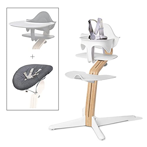 Nomi High Chair Ultimate Gift Registry Bundle – Includes an Adjustable Wooden Nomi High Chair in White/White Oak, a Nomi Baby with White Frame and Gray Cushion, and a White Tray by Evomove