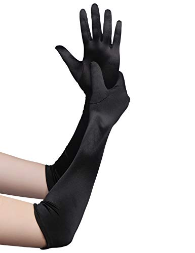 BABEYOND Classic Long Opera Pageant Party 1920s Satin Gloves Stretchy Adult Size Elbow Wrist Length 20.5' (Long Smooth 20.5in/Black)