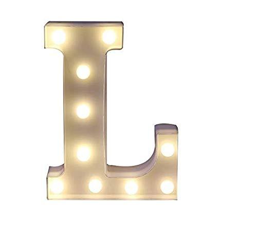 Yuna Lettere Luminose LED Lettere Decorative a LED Lettere dell'alfabeto Bianco (L)