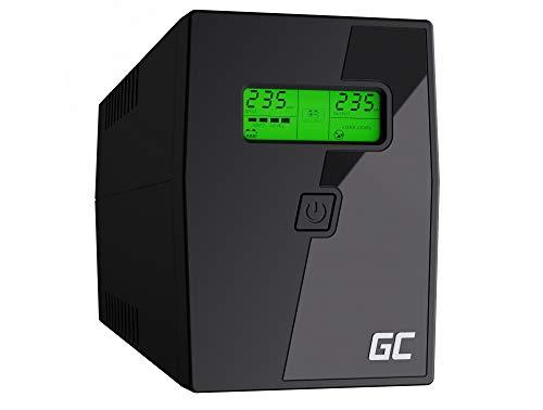 Green Cell® UPS USV Unterbrechungsfreie Stromversorgung 600VA (360W) mit Überspannungsschutz 230V Line-Interactive Spannungsregelung AVR USV-Anlage USB/RJ11 2X Schuko Ausgänge LCD Bildschirm