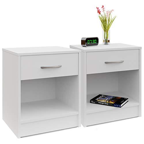 2x Table de nuit 35 x 40 x 50 cm Blanc Table de chevet pour Chambre et Bureau