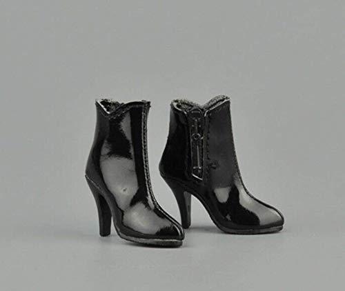 Tytlmask kleding model 1/6 korte laarzen met ritssluiting vrouwelijke schoenen High Heels zwart