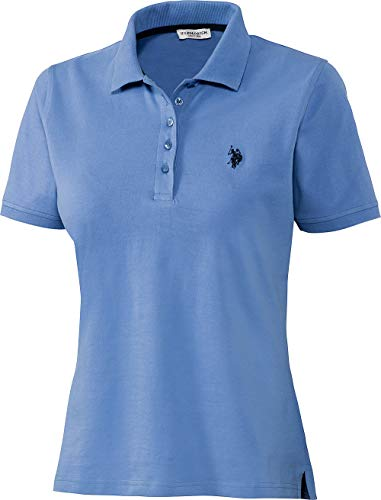 U.S. POLO ASSN. Damen Poloshirt in Mittelblau, aus Stretch Piqué Stoff, mit Knopfleiste, Elegantes Kurzarm Damen Hemd, Taillierter Schnitt, Damenoberbekleidung, Gr. S - XL