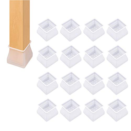 Beeria 16 Pcs Transparent Silicone Furniture Feet Pads Chair Leg Caps Furniture Table Covers Floor Scratches Protectors Chair Cap for 17-21MM Round Legs
