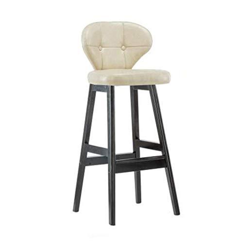 Barstoel Upholstered Barstool Retro ijzeren staafstoel barkruk, massief houten hocker restaurant huishouden creatieve dining stoel gelegenheden study rugleuning stoel, cremig-wit PU-lederen bekleding barkruk A