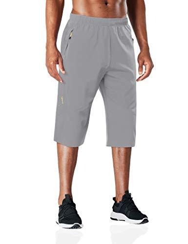 BIYLACLESEN Mens Long Shorts Mens Hiking Pants Quick Dry Shorts Men 3/4 Pants Mens Capri Pants Fishing Pants Workout Shorts for Men Lightgrey