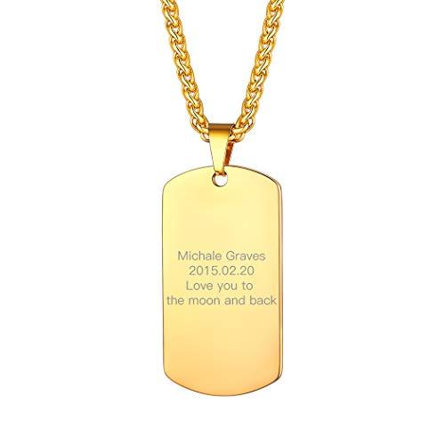 Suplight Herren Namenkette Gravur Hundemarke Erkennungsmarke 18k vergoldet Dog Tag mit 3mm 55+5cm Weizenkette personalisiert Anhänger Halskette spezieller Schmuck für Männer Jungen