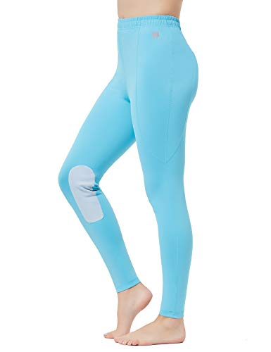 FitsT4 Kids Riding Tights Performance Flex Knee Patch Equestrian Schooling Tights Blue L