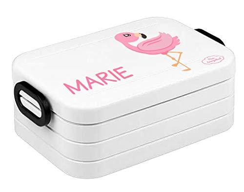 """Mein Zwergenland Bento Brotdose   Take a Break midi   Personalisierte Brotbox mit Namen für Kinder   Lunchbox für Kinder mit Zwei Klappverschlüssen   Weiß   """"Flamingo"""""""