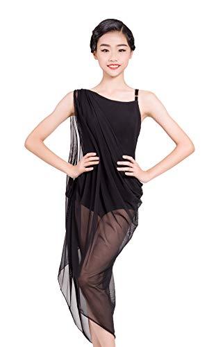 SCGGINTTANZ GD3030 Mädchen Latein Moderne Ballsaal Tanz professionelle schräge Schulter und große schwimmende Garn Design Kleid für Mädchen ((SBS) Black, 150)
