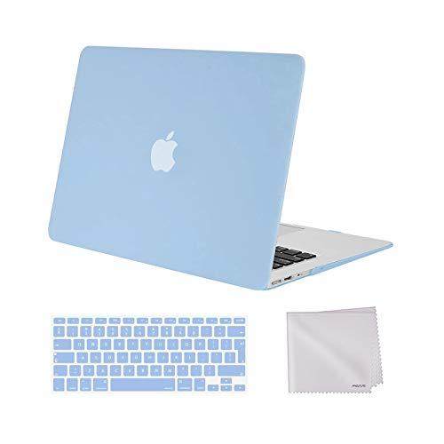 MOSISO Funda Dura Compatible con Macbook Air 13(A1369/A1466, Versión 2010-2017), Carcasa Rígida de Plástico Protectora &Teclado Cubierta&Paño de Limpieza,Azul Aireado