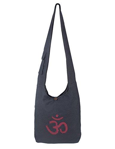 Vishes - Umhängetasche aus grob gewebter Baumwolle mit aufgenähtem und umsticktem Om-Zeichen...