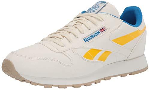 Reebok mens Classic Leather Sneaker, Chalk/Primal Yellow/Horizon Blue, 10 US